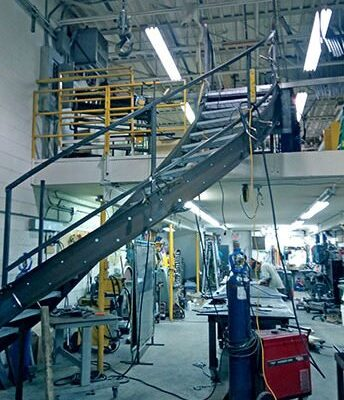 The staircase fabrication at the Punchclock Metal Shop in Toronto.