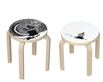 Artek stools' simple form contrasted with the whimsical line drawings of the beloved Mummins conveys  instant playfuness and elegance.